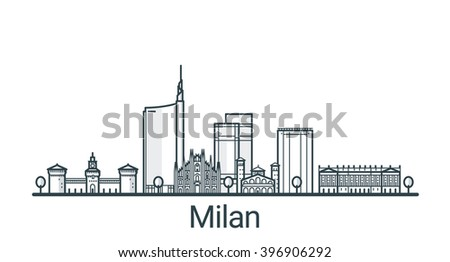 Linear banner of Milan city. All buildings - customizable different objects with background fill, so you can change composition for your project. Line art. - stock vector