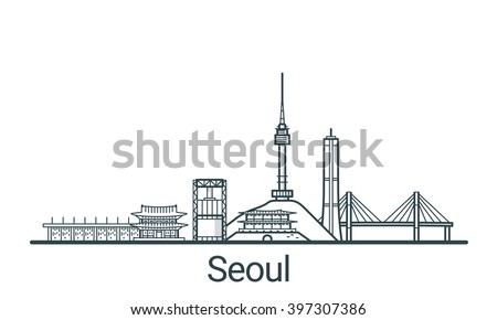 Linear banner of Seoul city. All buildings - customizable different objects with background fill, so you can change composition for your project. Line art. - stock vector