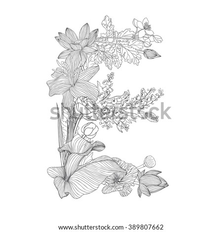 Floral Letters Coloring : 1012 best coloriages images on pinterest