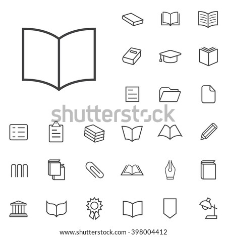Linear book icons set. Universal book icon to use in web and mobile UI, book basic UI elements set - stock vector