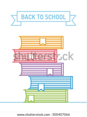 Linear books stack. Flat books stack.Book vector illustration. Back to school background. Education, university, college symbol or knowledge, books stack, publish, page paper. Design element - stock vector