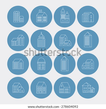 linear building urban style in the form of icons - stock vector