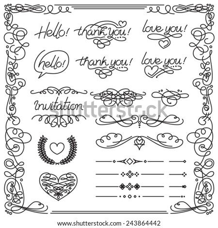 Linear calligraphy elements, borders, decorations and lettering. Vector set.