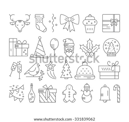 Linear collection of Christmas icons