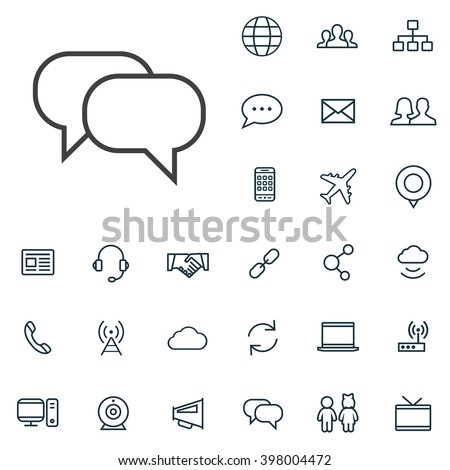 Linear communication icons set. Universal communication icon to use in web and mobile UI, communication basic UI elements set - stock vector