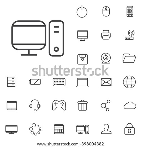 Linear computer icons set. Universal computer icon to use in web and mobile UI, computer basic UI elements set - stock vector