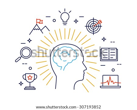 Linear concept of human mind process, human brain thinking and opportunities. Modern vector concept - stock vector
