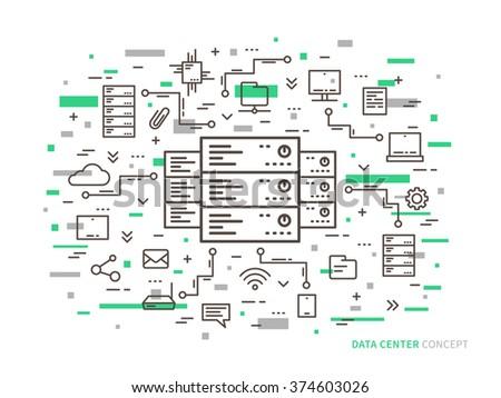 Linear data center (server park, hosting) vector illustration. Data center (network equipment, hosting storage, database technology) creative concept. Data center (infrastructure) graphic design.  - stock vector
