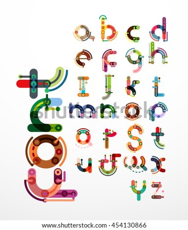 Linear design font, alphabet created with minimal lines connected, cartoon constructor - stock vector