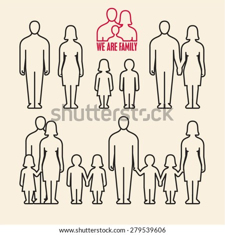 Linear family icons. People icons. - stock vector