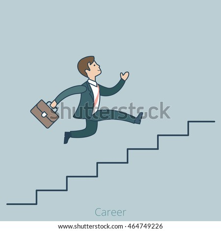 Linear Flat Businessman running up ladder of success vector illustration. Career and professional growth business concept.