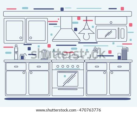 Linear Flat Interior Design Illustration Of Modern Designer Kitchen Outline Graphic Symbols For