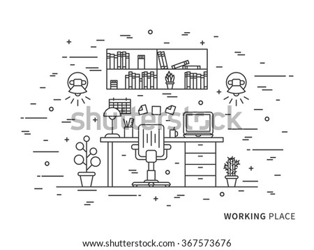 Linear flat interior design illustration of modern designer working place interior space with shelves, table, laptop, lamps, chair, notes, calendar. Outline vector graphic concept of working place.    - stock vector