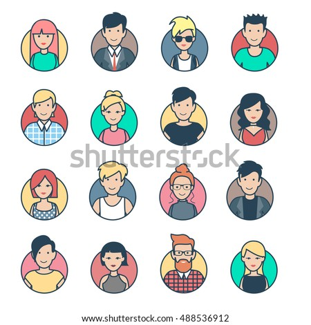 linear flat people faces vector icon stock vector royalty free