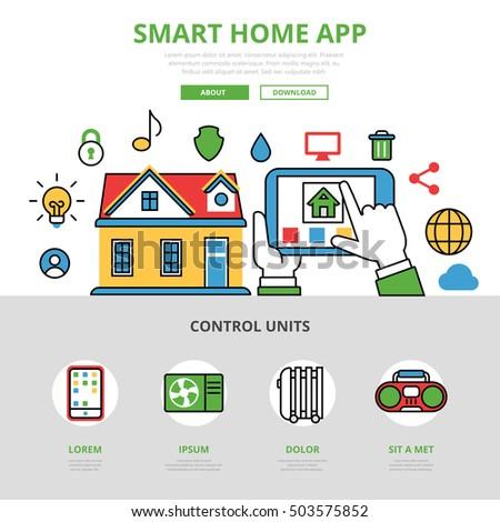 smart home app mobile application manage stock vector 387359893 shutterstock. Black Bedroom Furniture Sets. Home Design Ideas