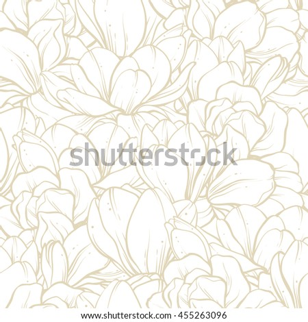 Linear floral background. Seamless pattern with spring flowers magnolia. Vector illustration blooming garden bouquet. Template greeting card, invitation, banner, textile and paper design - stock vector