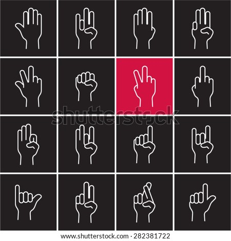 Linear hand icons set on back background. Sign language. Gestures. Fingers. Outline hand signs icons. - stock vector
