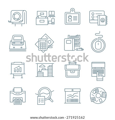 Linear icons of office routine, business processes, corporate environment and office stationery. Modern vector line icons - stock vector