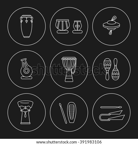 Linear icons of traditional  ethnic percussion instruments. White lines on black background. - stock vector