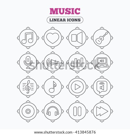 Linear icons with direction arrows. Music icons. Musical note, acoustic guitar and microphone. Notebook, dynamic and headphones symbols. Circle buttons. - stock vector