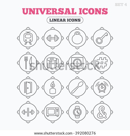 Linear icons with direction arrows. Universal icons. Fitness dumbbell, home key and candle. Toilet paper, knife and fork. Microwave oven. Circle buttons.