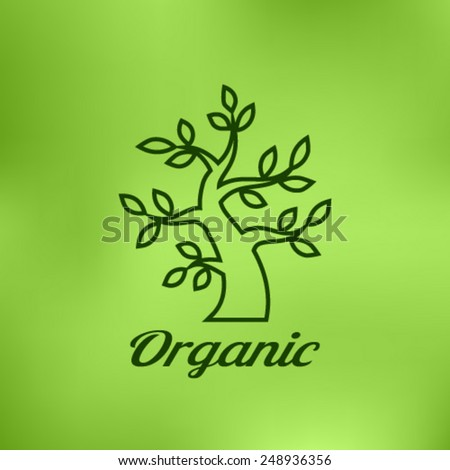 Linear illustration of Organic green tree logo on bright blurred background, eco emblem, ecology natural symbol, vector illustration  - stock vector