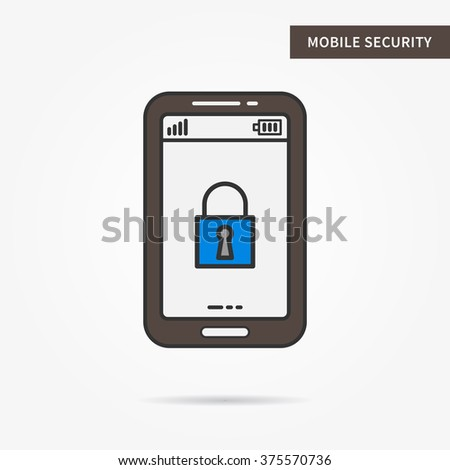 Linear mobile security. Flat phone protection (safety, secure) app. Mobile lock (firewall) technology symbol. Creative mobile authorization graphic design. Vector protection software illustration.  - stock vector