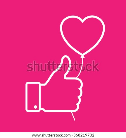 linear Outline white thumb up icon with heart balloon on red background, love vector illustration. Valentine's day card concept. Valentines day icon - stock vector