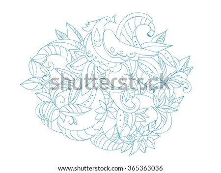 Linear print with bird. Decorative element for wedding invitation or post card. Outline pattern with abstract bird.