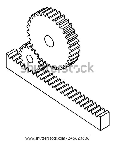Linear rack gear configuration. - stock vector