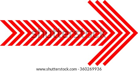 Linear Red striped arrow for your Design . Vector