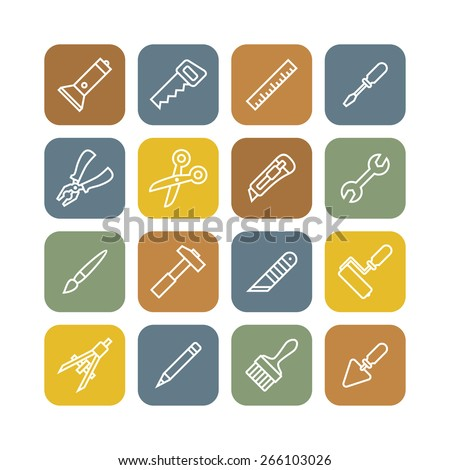 Linear renovation tools icons flat vector illustration  - stock vector