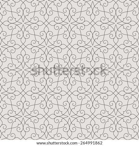 Linear seamless pattern. Stylish decor with elegant lines and curls