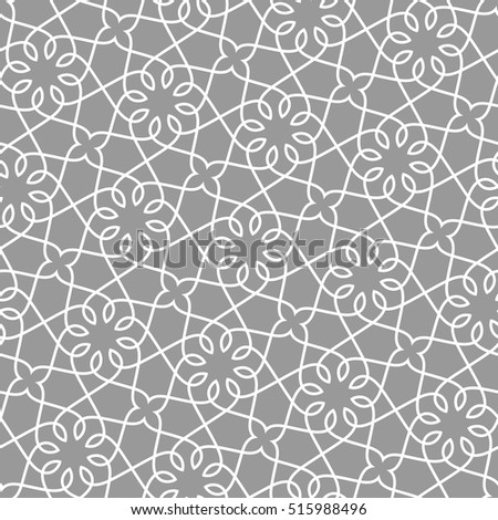 Linear seamless pattern. Stylish decor with elegant lines and curls. Decorative ornamental lattice.