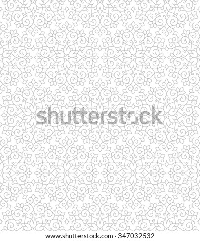 Linear seamless pattern with thin lines and scrolls. Abstract Vector Illustration. - stock vector
