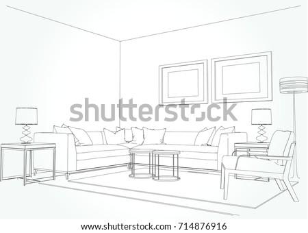 Living Room Plan Sketch Line Sofa Set Illustration