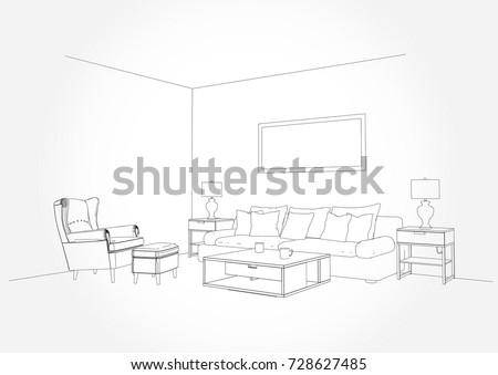 Linear Sketch Of An Interior Living Room Plan Line Sofa Set Illustration