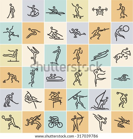 Linear sports icons set. Modern flat design athletes shapes. Olympic sports collection. - stock vector