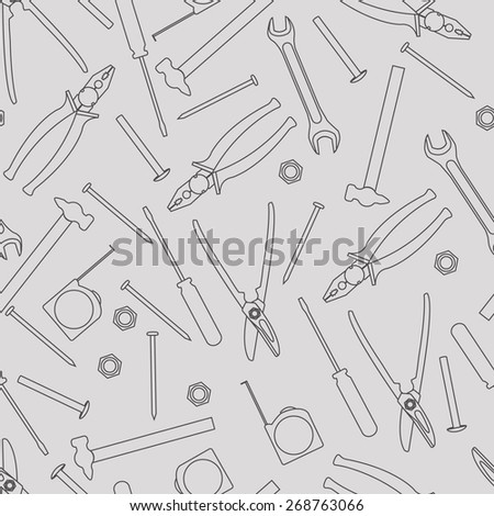 linear tools seamless pattern - stock vector