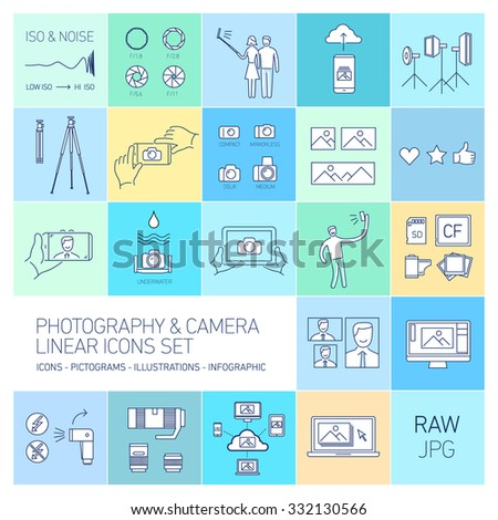 linear vector photography and camera icons set isolated on colorful background | illustrations of gear and equipment for professional photographers and amateurs - stock vector