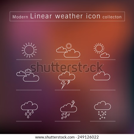 Linear vector Weather icons on blurry background - stock vector