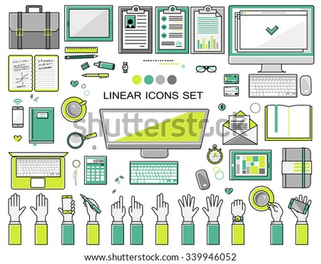 linear workplace icons collection, flat style icons set of a top view, green bright color.  Signs hand gestures. Workspace objects elements office worker, designer, manager, schoolchild. - stock vector