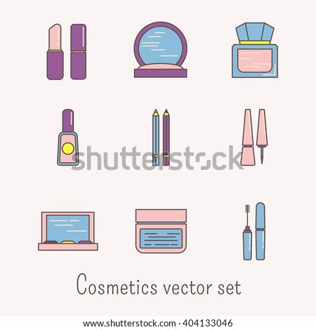 Lineart cosmetic colored icons - lipstick, rouge, lip gloss, nail polish, eye pencil, liner, eye shadows, face cream and mascara. Girly colors. Elegant beauty items. - stock vector