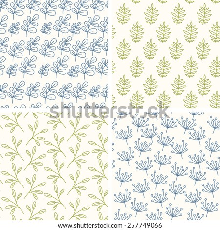 Lineart floral seamless patterns. Vector illustration. - stock vector