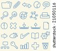 Lineart icons. CMYK mode. Global colors. Easy color changes. - stock vector