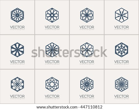 Lineart ornamental logo templates set. Vector hexagonal arabic geometric symbols