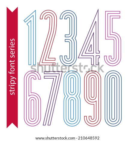 Lined geometric numeration, colorful light numbers for use in posters and advertising. Tall stripy digits. - stock vector