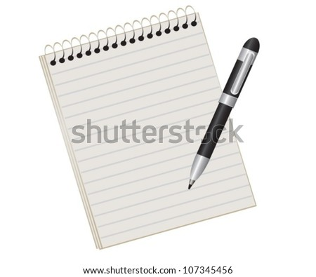 lined pad on a spring and a black pen - stock vector