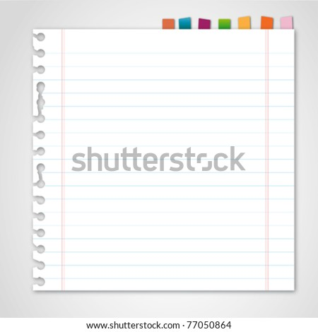 Lined paper and reminder note - stock vector
