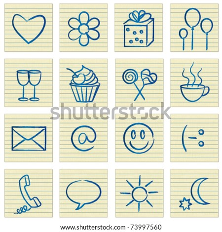 Lined paper notes with romantic communication symbols - stock vector